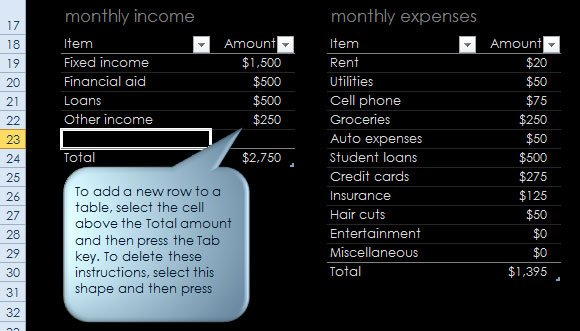 sample budget for college student