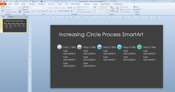 increasing circle process timeline template for microsoft