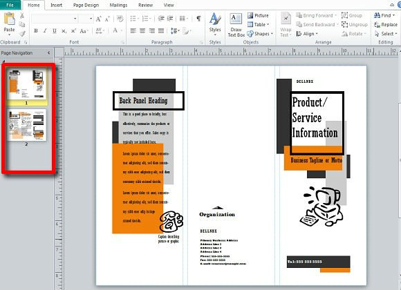 publisher pamphlet template