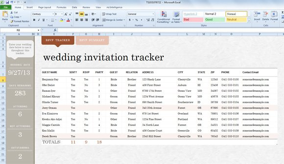 Wedding Gift List Excel Template : Wedding Invite List Template for Excel 2013 PowerPoint Presentation