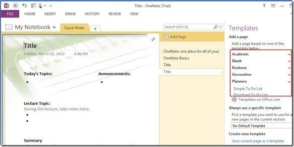 OneNote 2013 Templates Make Note Taking Easier Across Windows, iOS And ...