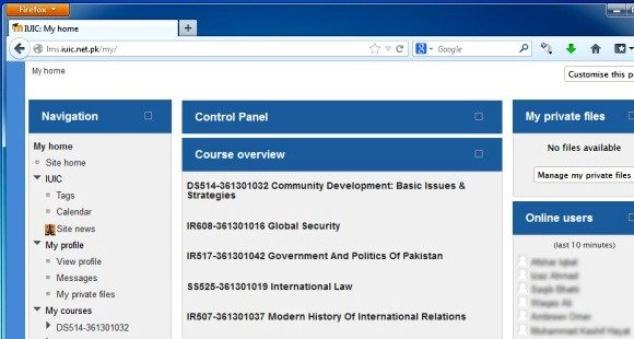 Online course management system website