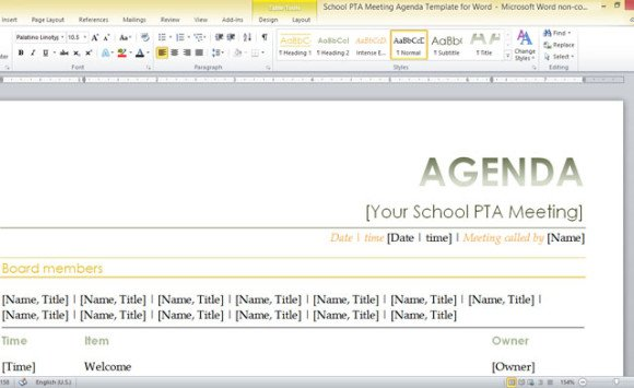 school meeting agenda template .