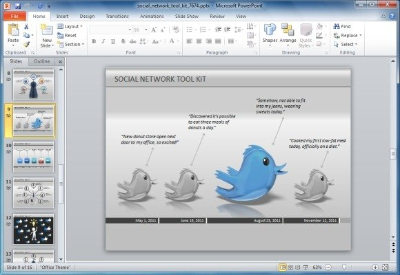 animated social network powerpoint template for