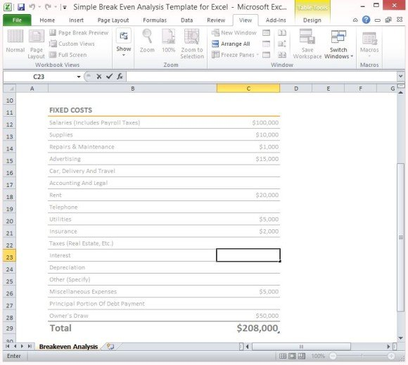 simple break even analysis template for excel 2