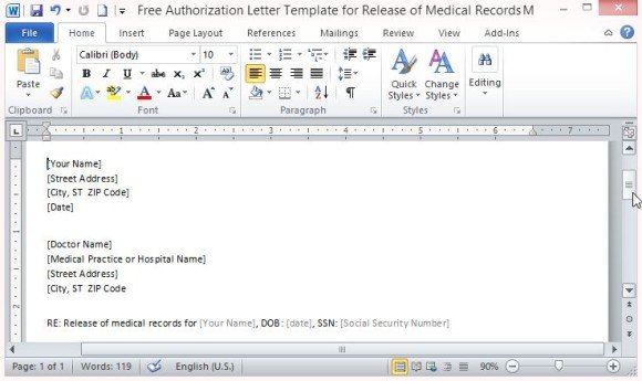 Free Authorization Letter Template For Release Of Medical