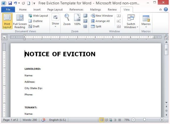 free eviction notice template .