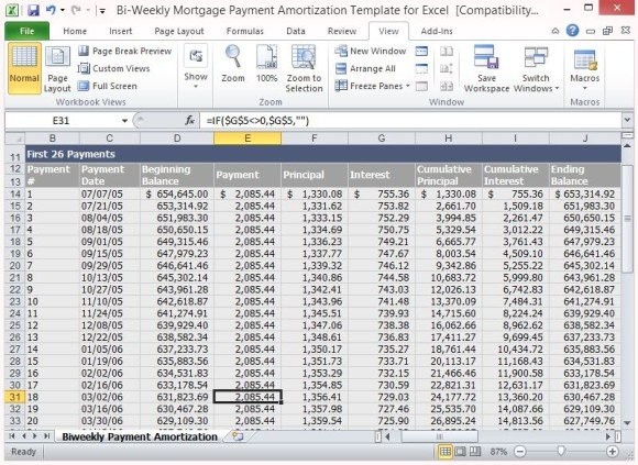 you should probably know this  bi weekly amortization schedule