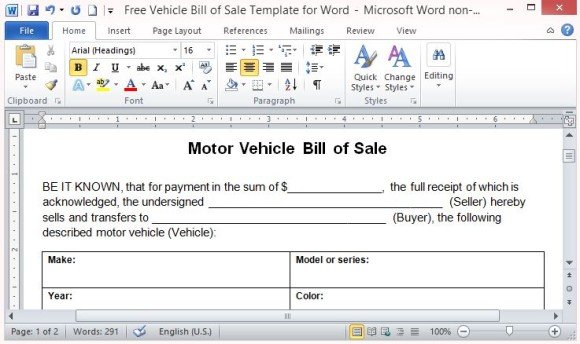 Used car bill of sale templates Download for free