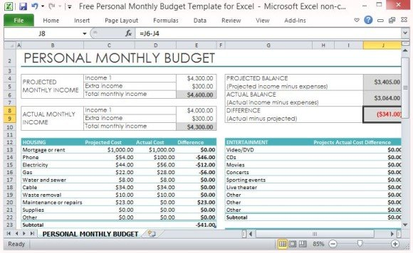 free personal monthly budget template for excel powerpoint presentation. Black Bedroom Furniture Sets. Home Design Ideas