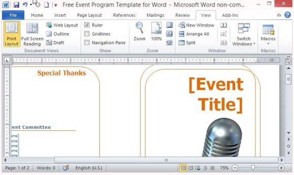 Free event program template for word powerpoint presentation for Event program template publisher