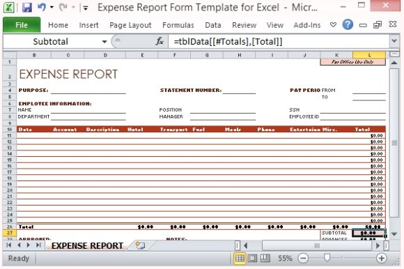 Company Expense Report Template  TvsputnikTk