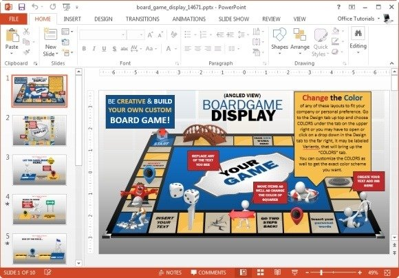 Animated Board Game Powerpoint Template Printable Monopoly Boards