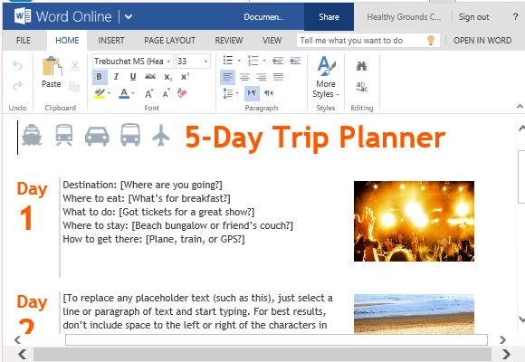 trip planner template for word online powerpoint presentation. Black Bedroom Furniture Sets. Home Design Ideas