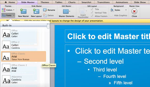 How To Change The Theme Fonts In Powerpoint 2011 For Mac