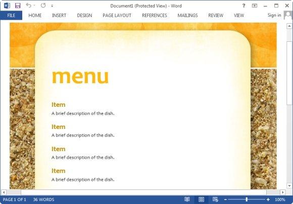 microsoft word party template menus