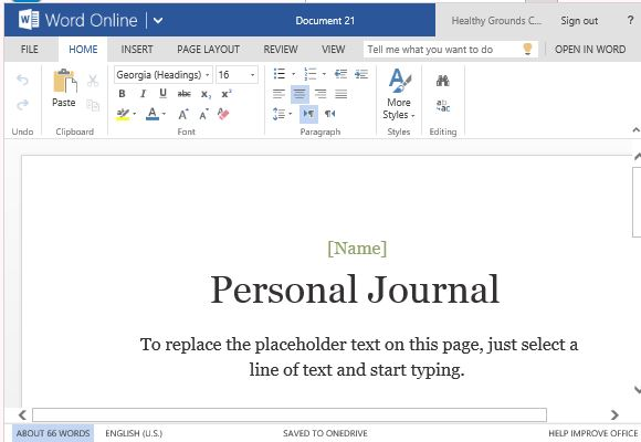 personal journal template for word online