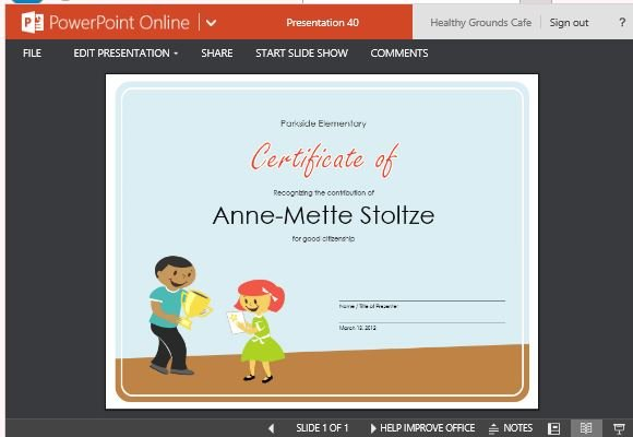 Certificate of award template for students powerpoint for Award certificate template powerpoint