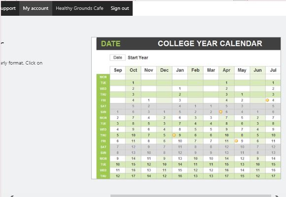 College year calendar template for excel powerpoint for College school schedule template