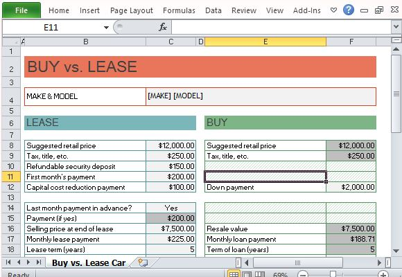 Lease Vs Purchase Car Calculator