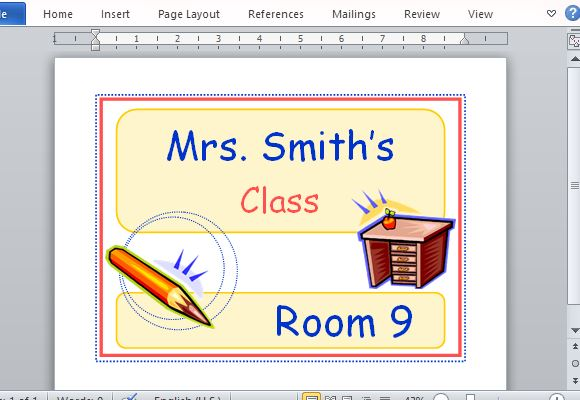 Free Classroom Decoration Templates ~ Printable classroom sign maker templates for word