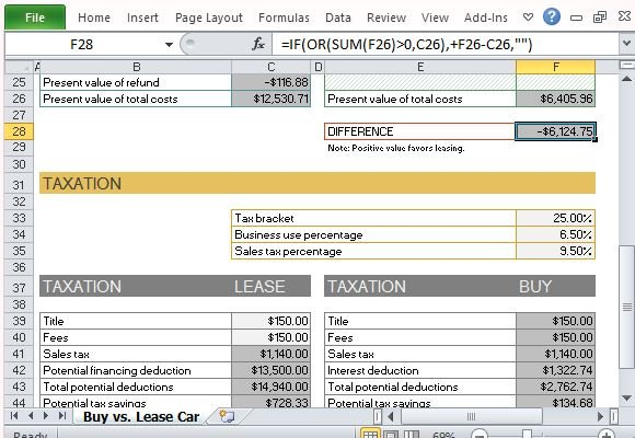 Purchase Lease Car Calculator