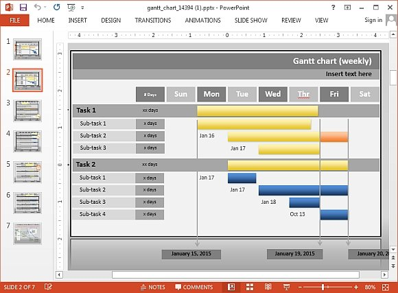 Interactive gantt chart project progress template for for Free interactive powerpoint presentation templates