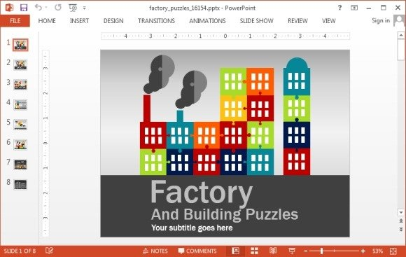 animated factory puzzle template for powerpoint