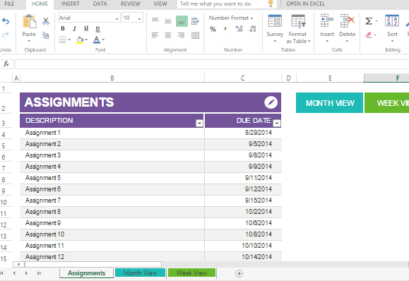 Student Assignment Planner Template For Excel Powerpoint