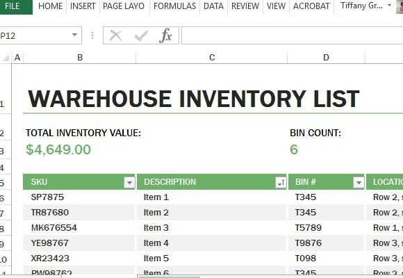 microsoft excel inventory templates