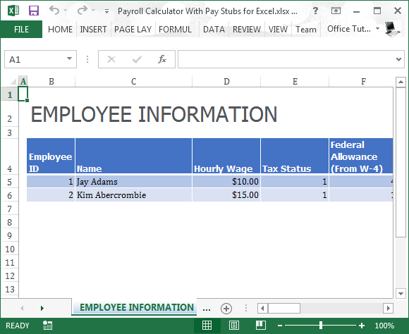 free pay stub template with calculator - payroll calculator with pay stubs for excel powerpoint