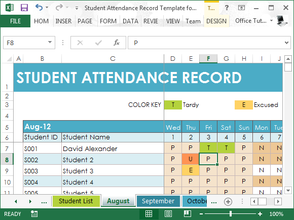 Student Attendance Record Template For Excel Powerpoint