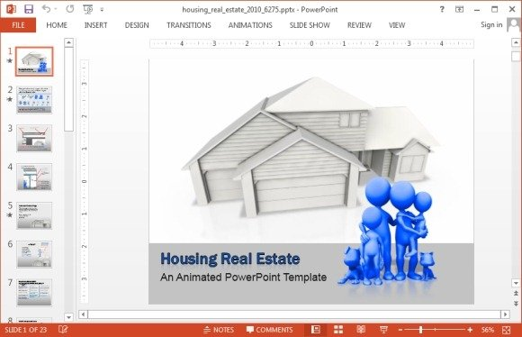 Housing real estate animated PowerPoint template